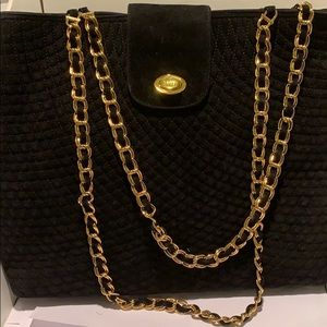 Vintage Bally Quilted Chain Suede shoulder bag